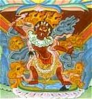 Ekajati - detail of thangka of Vajrakilaya (Padmasambhava Buddhist Center)